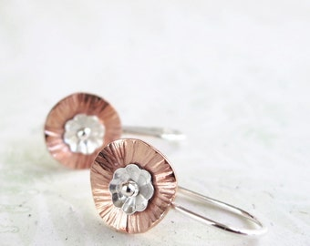 Poppy earrings|  Copper| Sterling Silver|  hammered| drops| Nature inspired| Flowers