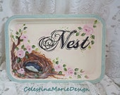 Nest and Roses, Hand Painted Decorative Metal Tray, Home Decor Accent, Shabby, Cottage Distress, Original Design, ECS
