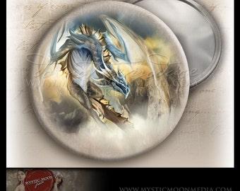 Air Dragon...POCKET MIRROR...Elemental Air Dragon flying... Fantasy Art