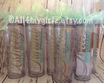 Set of 7 Tall skinny personalized tumbler wedding party gifts bride bridesmaids flower girls