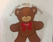Vintage Teddy Bear Applique on TShirt size Large