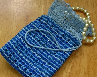 Blues Small Bag - Handmade Lace And Fabric - Light and Dark Blues Design - Filet Crochet Top - Jewelry or Trinket Pouch