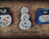 E Pattern Snowmen Snowman Punch Needle Pin