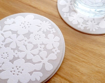SALE 10 Flower Drink Coasters, Letterpress coasters, Wedding, flower motif, 4 inch