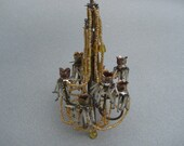Antique Dollhouse Chandelier Large Scale Ornate Beaded Miniature Chandelier