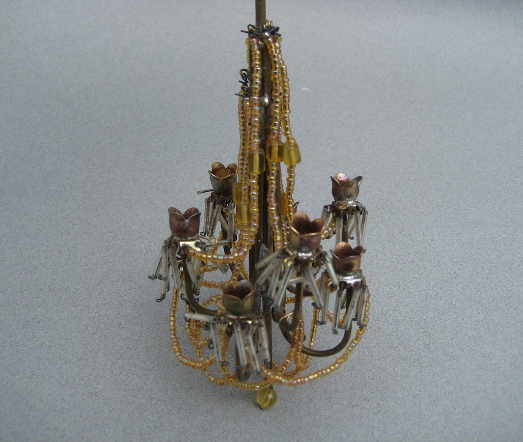 Antique Dollhouse Chandelier Large Scale Ornate Beaded