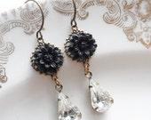 Clearance- Black Mum Earrings with Vintage Glass Teardrop