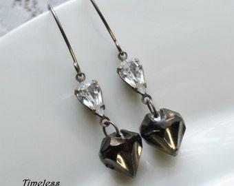 Antique Glass Button Earrings -Estate Style/ Dizzy