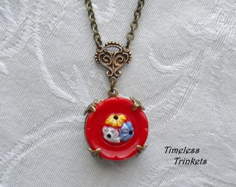 Vintage Glass Button Necklace- Calico Red