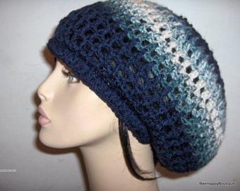 Dreads Hat Mens Womens Charcoal Blues Rasta Slouchy Hat Dreadlocks Slouchy