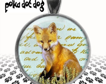 Clever Fox -- Baby Fox Large Glass-Covered Pendant