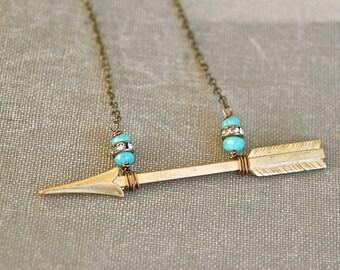 Fancy arrow.opal beaded rhinestone arrow necklace. Tiedupmemories