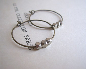 Silver and Bronze mixed metal hoop earrings - little facetted beads - nickel free