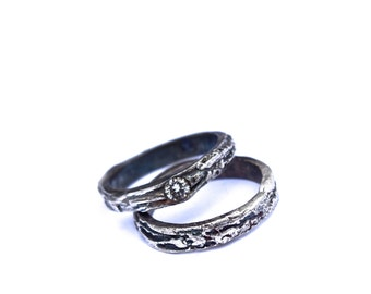 Wedding Ring Diamond Engagement Tree Bark Set Recycled Sterling Silver