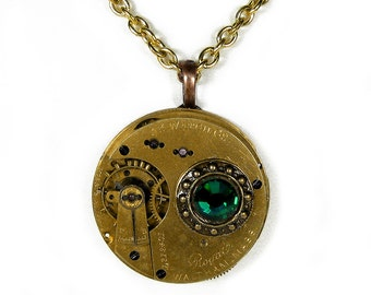 Steampunk Jewelry Necklace WALTHAM Gold Ornate Pocket Watch EMERALD Crystal Steam Punk Pendant Wedding Mothers Gift - Jewelry by edmdesigns