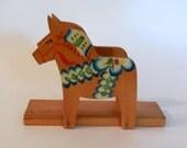 VINTAGE Napkin Holder Mail Holder Hand Painted Wood Horse PONY Folk ART
