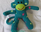 Finn the sock monkey ready to ship Lime Green,  teal pink