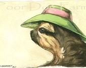 A Lady Sloth in a Hat- print