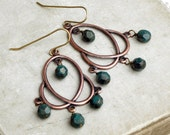 Geometric Copper Chandelier Earrings, Aqua Blue Czech Glass Beads, Beaded Chandelier Earrings