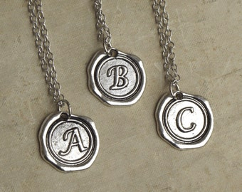 Silver Initial Necklace,  Letter Pendant, Name Necklace, Wax Seal Letter Necklace, Best Friend Necklaces