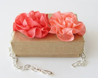 Orange silk flower bracelet, boho jewelry, ruffled silk flowers, orange and peach silk flowers, bridesmaid jewelry gift