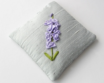 Larkspur lavender sachet, July birthday gift, silk ribbon embroidery, silk sachet, embroidered sachet, aromatherapy pillow, linen freshener