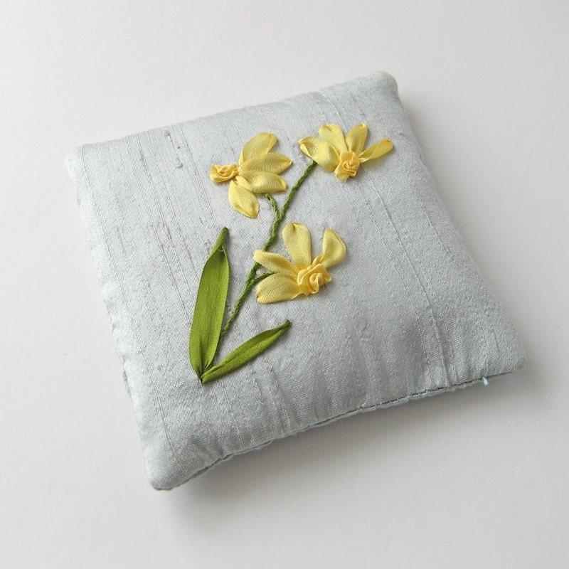 Daffodils Lavender Sachet Embroidered Sachet Silk By Bstudio