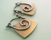Small Sterling Silver And Bronze Earrings, Mixed Metal Earrings, Spiral Hoop Earrings, NuGold Earrings, NuGold Hoops, Contemporary Earrings