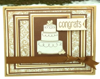 Congrats Card, Congratulations Card, Wedding Card, Congrats on Your Wedding Card, Brown, Cream, Gold with Wedding Cake