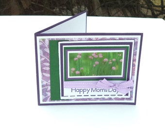 Mother's Day Card, Happy Mom's Day Card for Mom, Purple and Green with Ribbon, Picture of Flowers, OOAK card