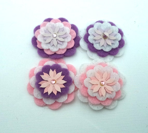 Pink, White, Lavender Felt Flowers with Paper Flower Centers, Set of 4 for Scrapbooking, Card Making