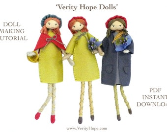 Verity Hope felt doll pattern / bendy doll / tutorial / pdf / instant download / by Verity Hope.