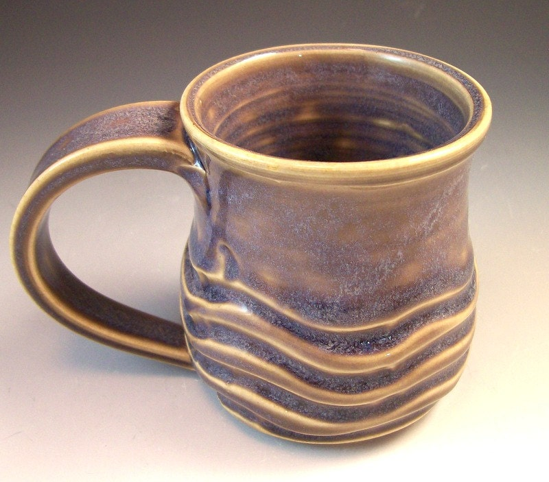 Hand Made Pottery Wave Mug Blue Pottery Coffee Mug Cup 6