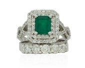 14k White Gold or Platinum Genuine Emerald Double Halo Engagement Ring with 5 stone Diamond Wedding Band - LS4123