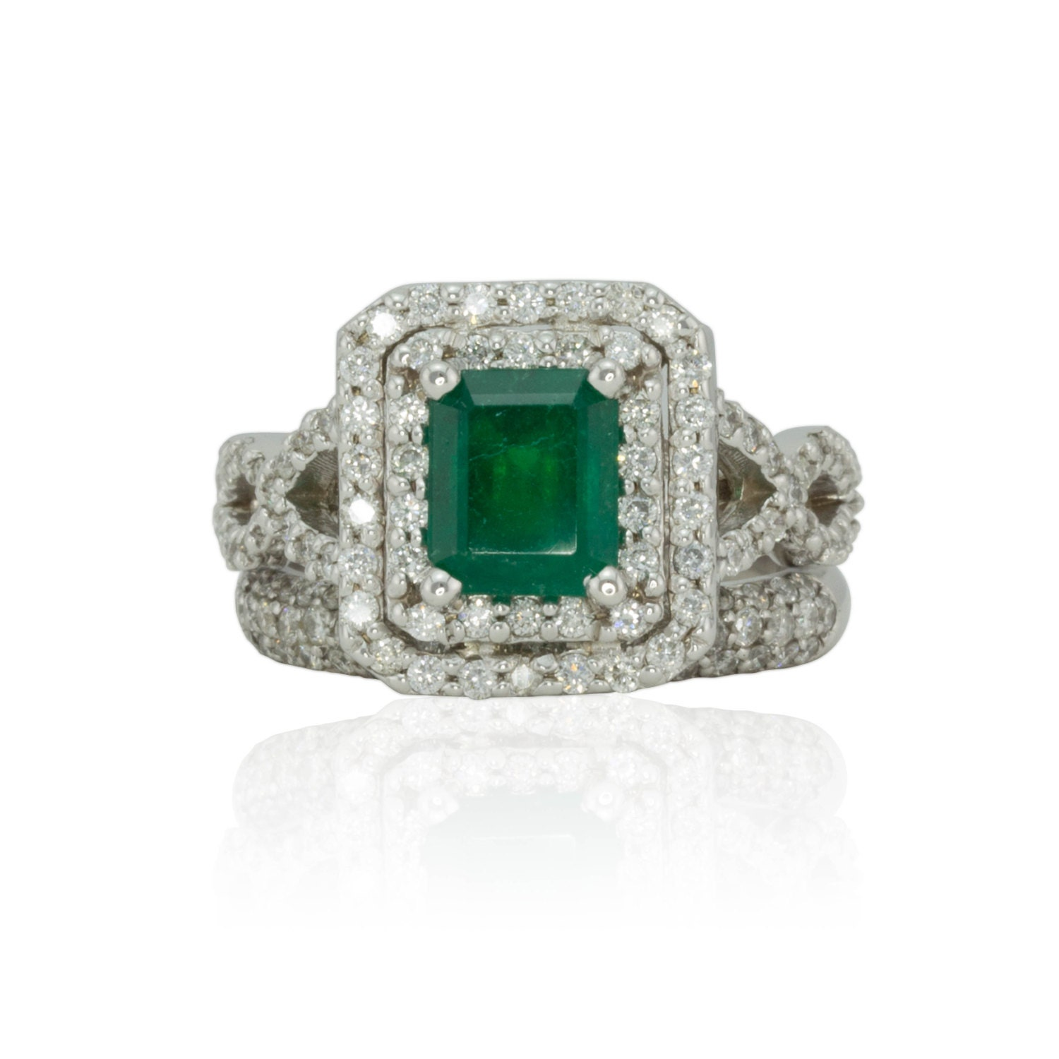 emerald ring genuine emerald and halo