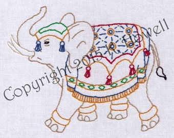 Elephant Hand Embroidery Pattern, Decorated Elephant, Fancy, Circus, Indian, PDF