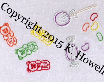 Candy Hand Embroidery Pattern, Assortment, Sweet Treat, Sweets, PDF
