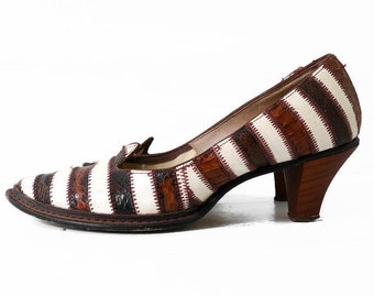 60s Stripe Snake Skin and Leather Pumps 8