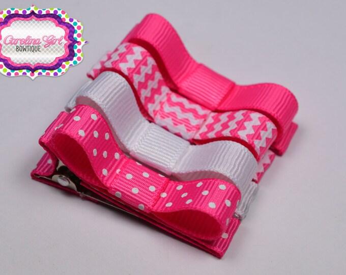 Hot Pink & White Hair Clips Basic Tuxedo Clips Alligator Non Slip Barrettes for Babies Toddler Girl Teens Set of 4
