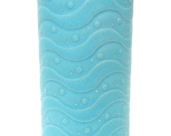 Baby Blue Textured Whimsical Wavy Handmade Ceramic Pottery Utensil Holder Flower Vase