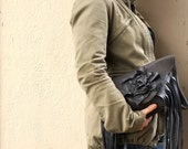 NEW////Charcoal Grey and Black Leather Fringe Clutch