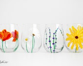 Mother's Day Bouquet - 4 Piece Hand Painted Stemless Wine Glass Collection - Mother's Day Gift - Daisy, Sunflower, Lavender, Poppy Glasses