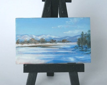 Original miniature oil painting -- SHADOW STREAKS-- 2x3 inch framed landscape, by Diana Moses Botkin