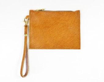 Mimi - Handmade Tan Brown Hair On Hide Leather Clutch Bag Zip Pouch Purse SS15