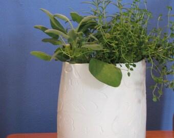 White embossed ceramic planters