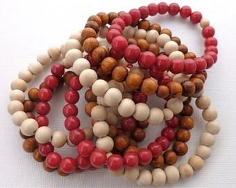 Beaded Bracelet Set. Red Jade & Wood