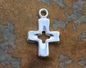 2 Greek Silver Cross Charms - Pendant 22x17mm
