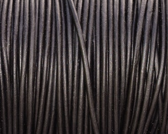 1.5mm Natural Black Leather Cord - 6 Yards Black Leather Cording