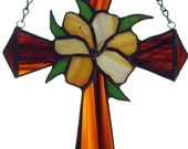 Stained Glass Cross and  Peachy White Lilly Suncatcher Hand made