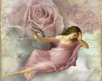 Rose in the Clouds Digital Collage Greeting Card (Suitable for Framing)